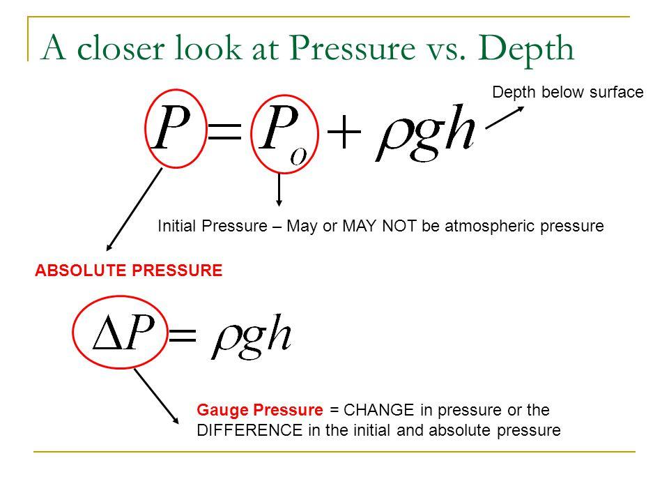 A closer look at Pressure vs. Depth ABSOLUTE PRESSURE Initial Pressure – May or MAY NOT be atmospheric pressure Depth below surface Gauge Pressure = C
