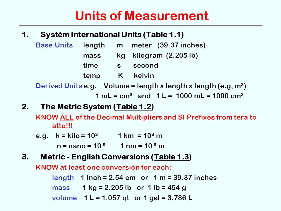 Units of Measurement 4.Temperature Scales (Figure 1.12) -- Know how to convert.