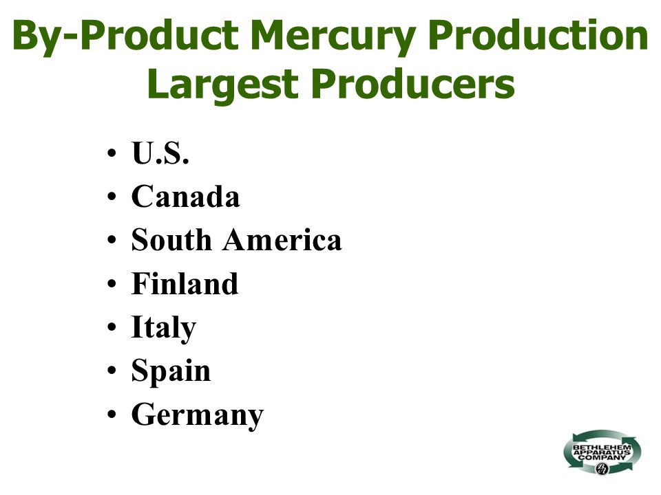 By-Product Mercury Production Largest Producers U.S.