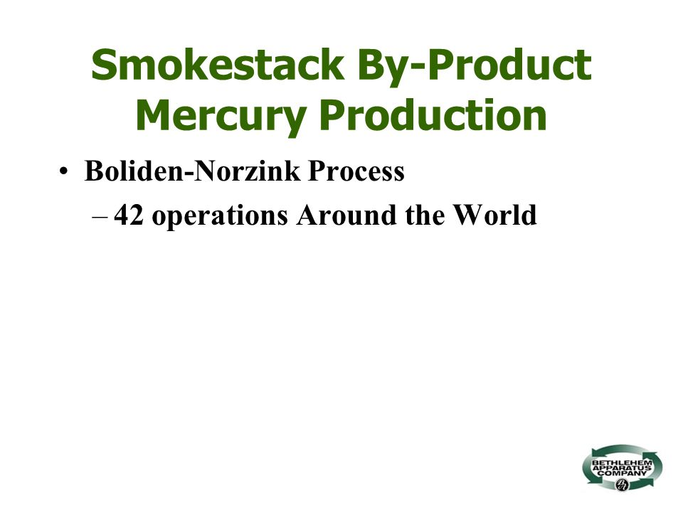 Smokestack By-Product Mercury Production Boliden-Norzink Process –42 operations Around the World