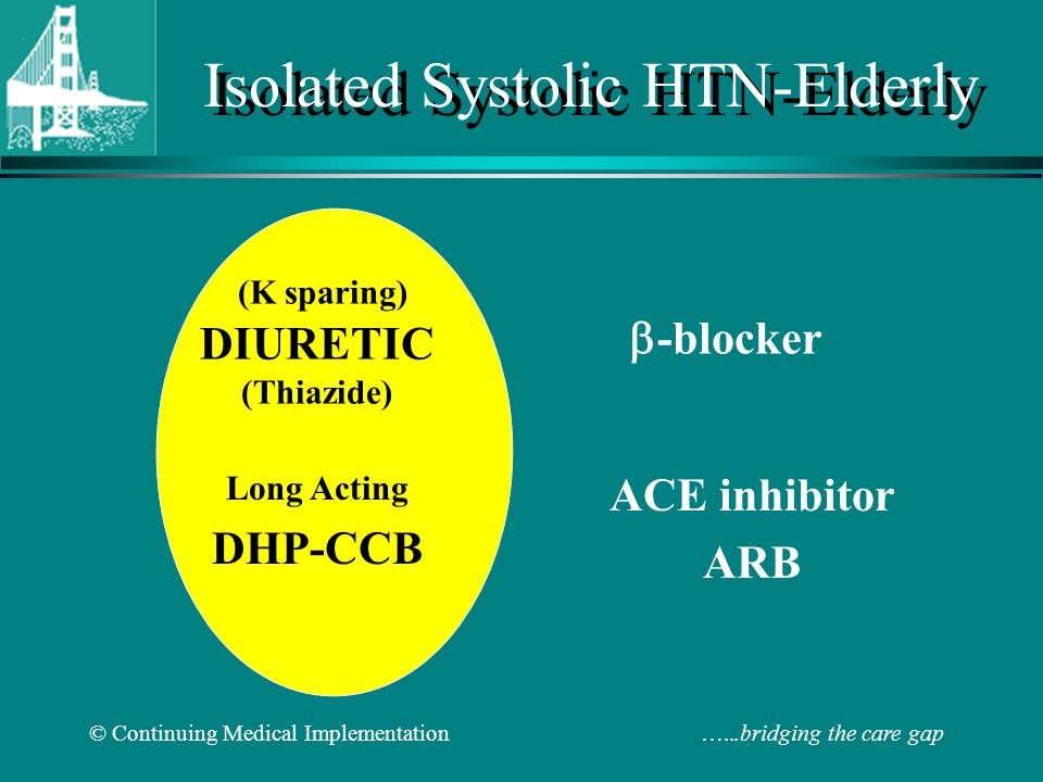 © Continuing Medical Implementation …...bridging the care gap Isolated Systolic HTN-Elderly ACE inhibitor ARB -blocker Long Acting DHP-CCB (K sparing) DIURETIC (Thiazide)