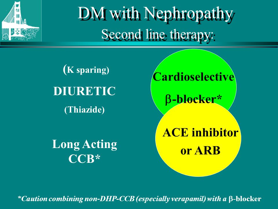 © Continuing Medical Implementation …...bridging the care gap DM with Nephropathy Second line therapy: ACE inhibitor or ARB Cardioselective -blocker* ( K sparing) DIURETIC (Thiazide) *Caution combining non-DHP-CCB (especially verapamil) with a -blocker Long Acting CCB*