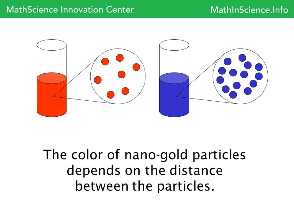 The color of nano-gold particles depends on the distance between the particles.
