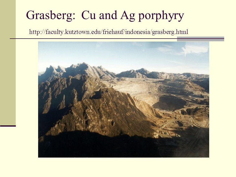 Grasberg: Cu and Ag porphyry http://faculty.kutztown.edu/friehauf/indonesia/grasberg.html