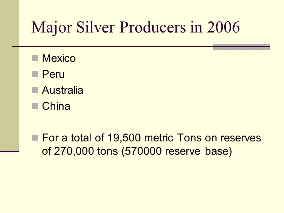 Major Silver Producers in 2006 Mexico Peru Australia China For a total of 19,500 metric Tons on reserves of 270,000 tons ( reserve base)