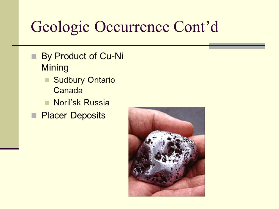 Geologic Occurrence Contd By Product of Cu-Ni Mining Sudbury Ontario Canada Norilsk Russia Placer Deposits