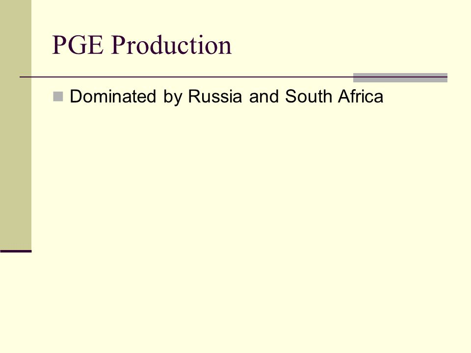PGE Production Dominated by Russia and South Africa