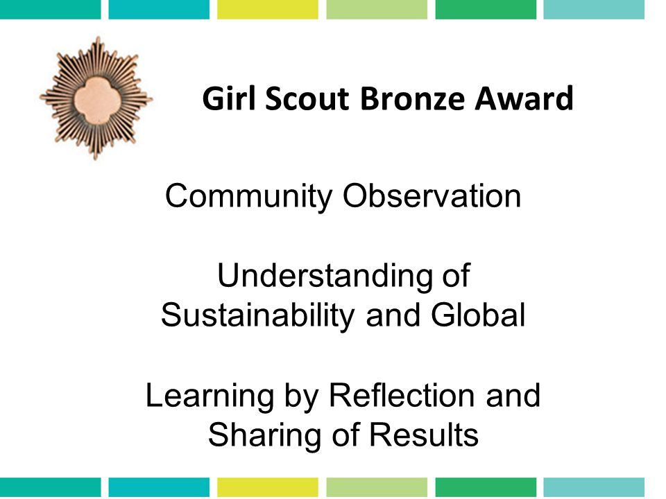 Girl Scout Bronze Award Community Observation Understanding of Sustainability and Global Learning by Reflection and Sharing of Results