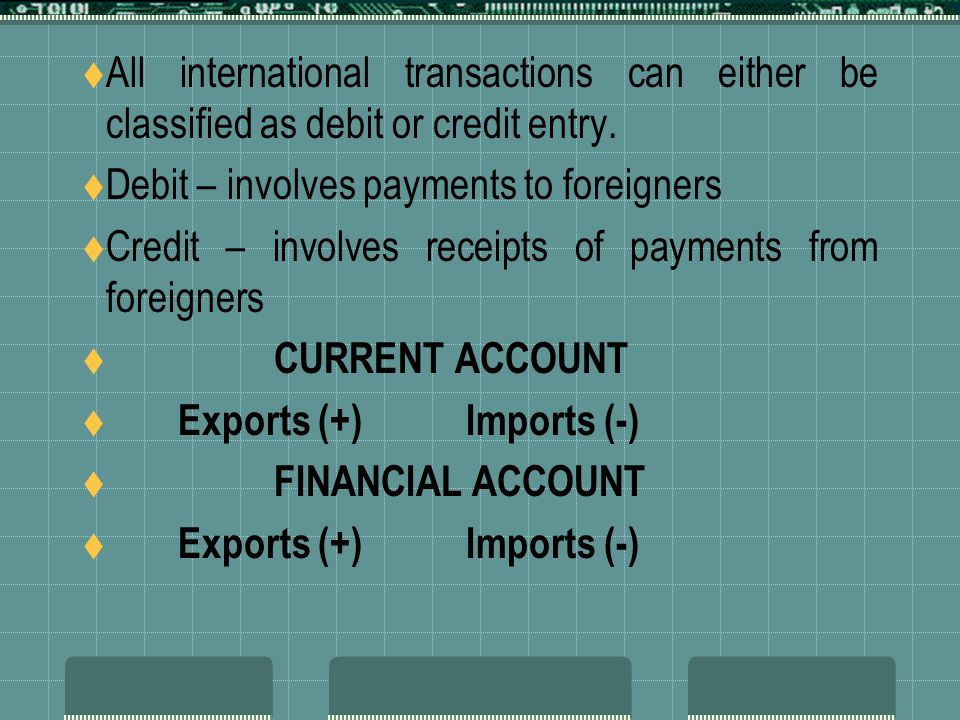 All international transactions can either be classified as debit or credit entry.