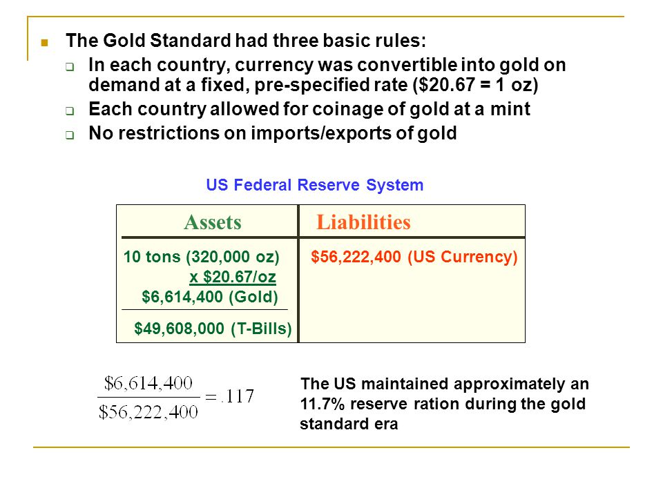 The Gold Standard had three basic rules: In each country, currency was convertible into gold on demand at a fixed, pre-specified rate ($20.67 = 1 oz) Each country allowed for coinage of gold at a mint No restrictions on imports/exports of gold AssetsLiabilities 10 tons (320,000 oz) x $20.67/oz $6,614,400 (Gold) $56,222,400 (US Currency) $49,608,000 (T-Bills) US Federal Reserve System The US maintained approximately an 11.7% reserve ration during the gold standard era