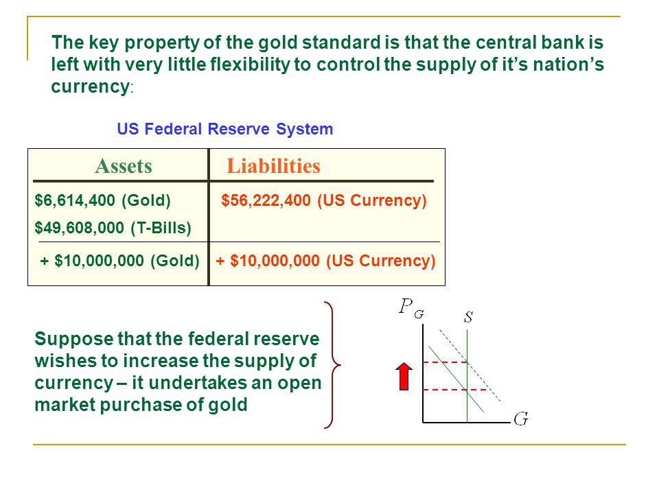 The key property of the gold standard is that the central bank is left with very little flexibility to control the supply of its nations currency : AssetsLiabilities $6,614,400 (Gold)$56,222,400 (US Currency) $49,608,000 (T-Bills) US Federal Reserve System + $10,000,000 (Gold)+ $10,000,000 (US Currency) Suppose that the federal reserve wishes to increase the supply of currency – it undertakes an open market purchase of gold