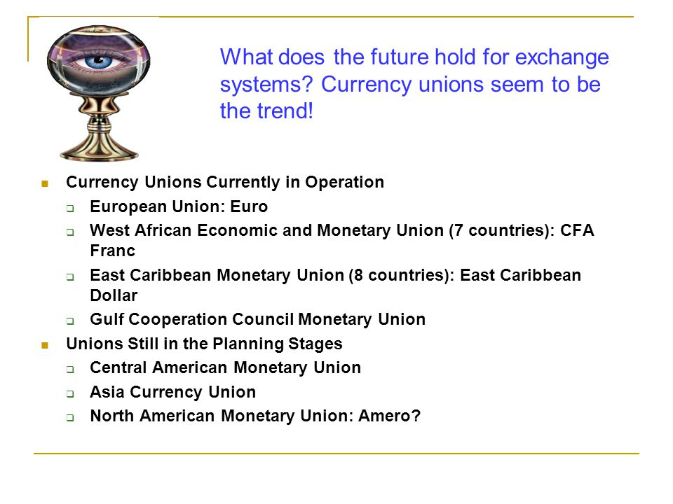 What does the future hold for exchange systems. Currency unions seem to be the trend.