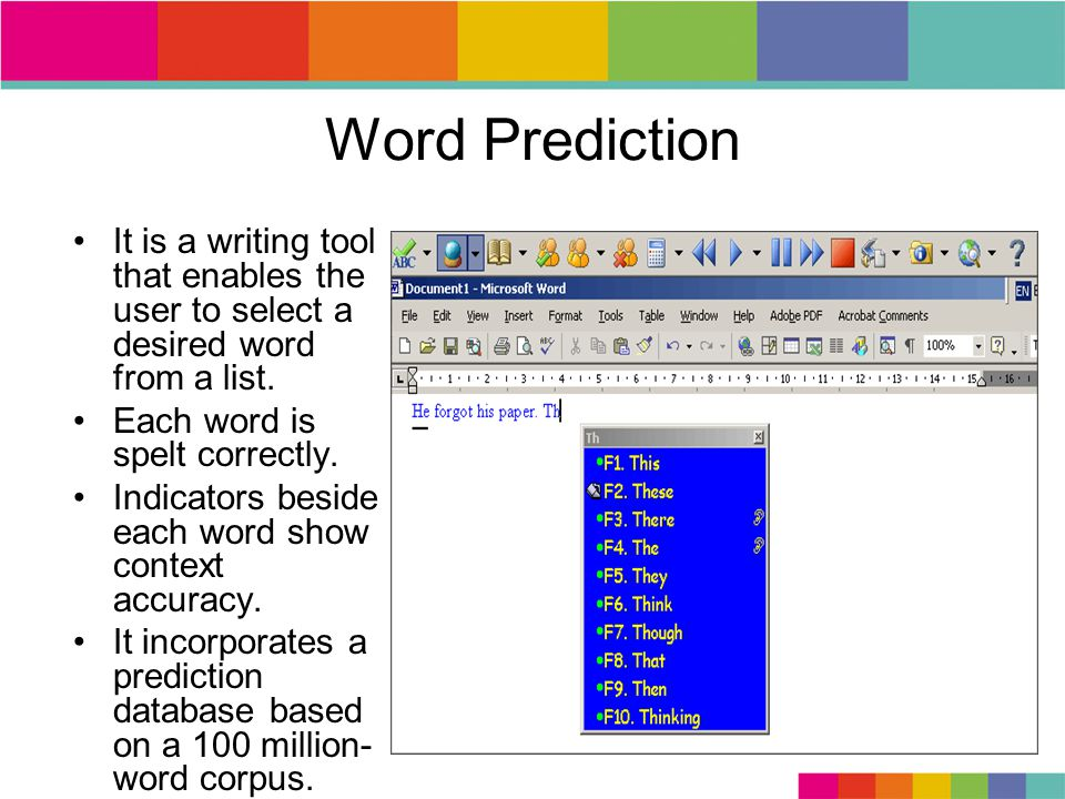Word Prediction It is a writing tool that enables the user to select a desired word from a list.