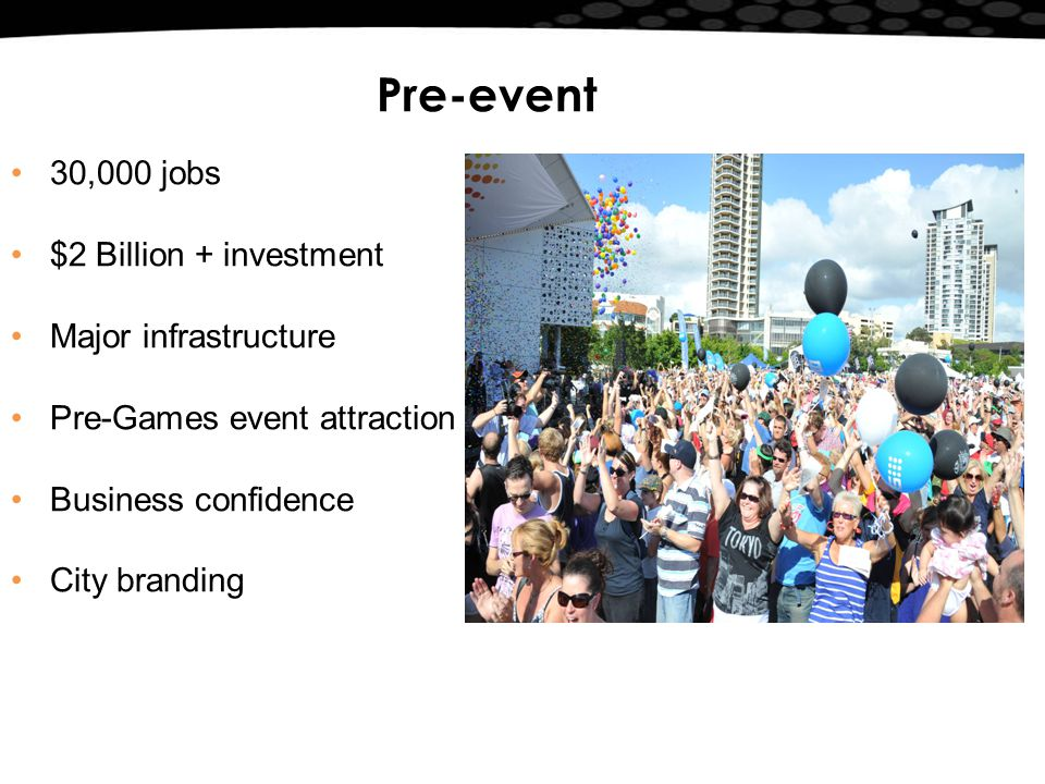 Pre-event 30,000 jobs $2 Billion + investment Major infrastructure Pre-Games event attraction Business confidence City branding