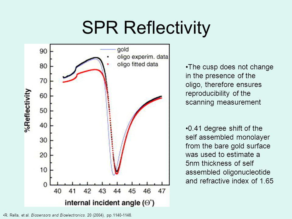 SPR Reflectivity The cusp does not change in the presence of the oligo, therefore ensures reproducibility of the scanning measurement 0.41 degree shift of the self assembled monolayer from the bare gold surface was used to estimate a 5nm thickness of self assembled oligonucleotide and refractive index of 1.65 R.