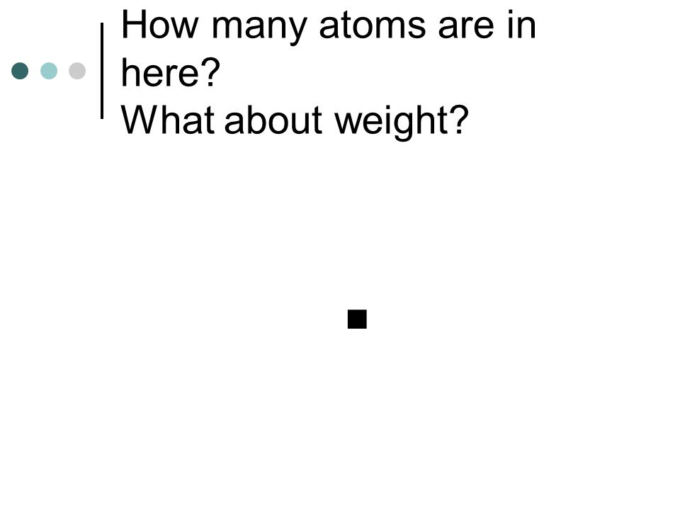 How many atoms are in here? What about weight?.