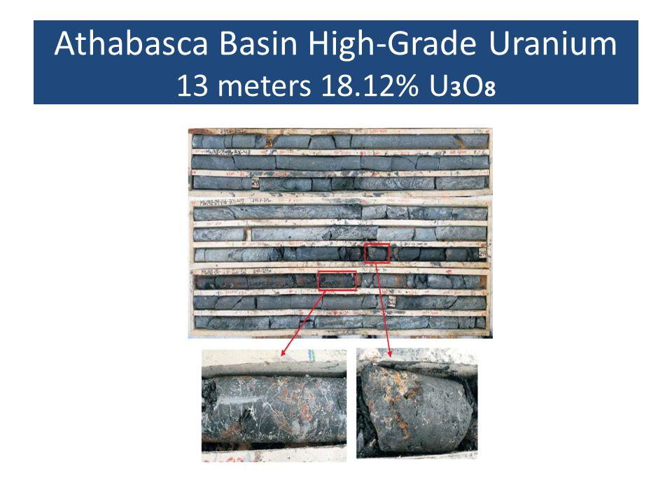 Athabasca Basin High-Grade Uranium 13 meters 18.12% U 3 O 8