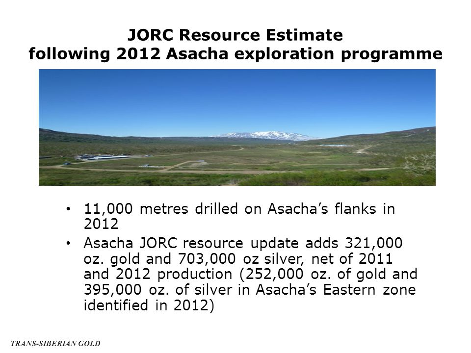 JORC Resource as at 31 December 2012 PROPERTY MEASURED + INDICATED Oz MEASURED, INDICATED & INFERRED Oz GRADE g/t (Au equiv.) CUT-OFF g/t Asacha748,1001,070,30020.94.0 Rodnikova166,450 404,845 8.24.0 TOTALS914,5501,475,145--