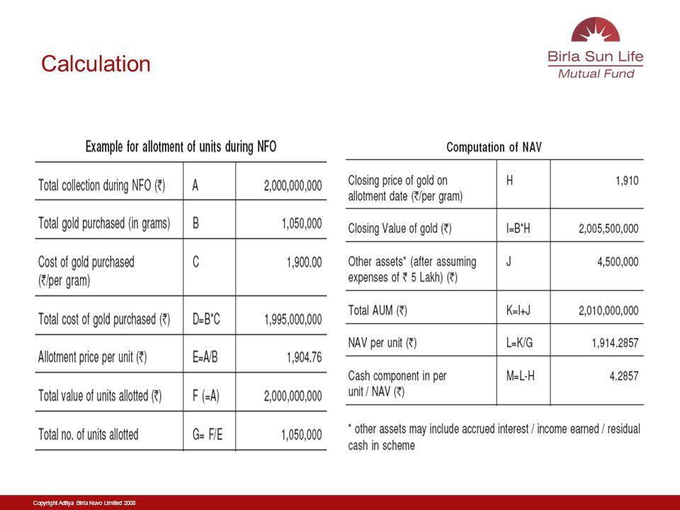 Copyright Aditya Birla Nuvo Limited 2008 Calculation