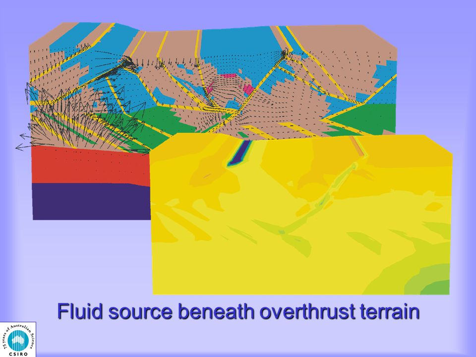 Fluid source beneath overthrust terrain