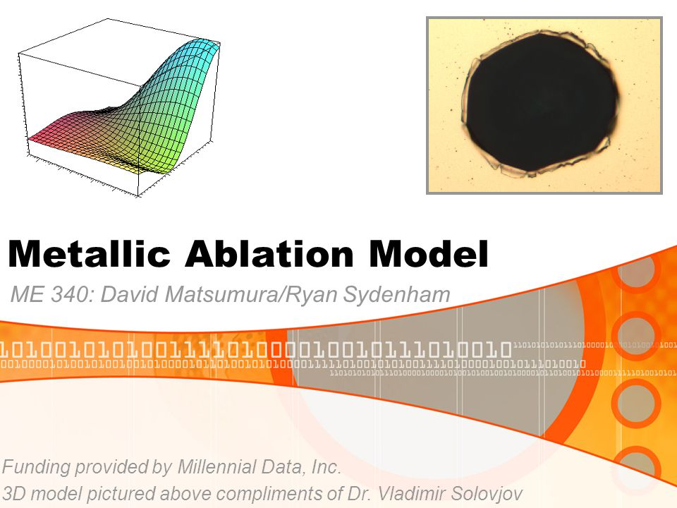 Metallic Ablation Model ME 340: David Matsumura/Ryan Sydenham Funding provided by Millennial Data, Inc.