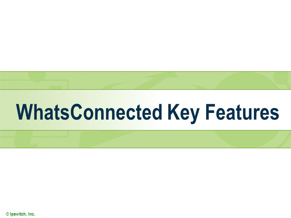 © Ipswitch, Inc. WhatsConnected Key Features