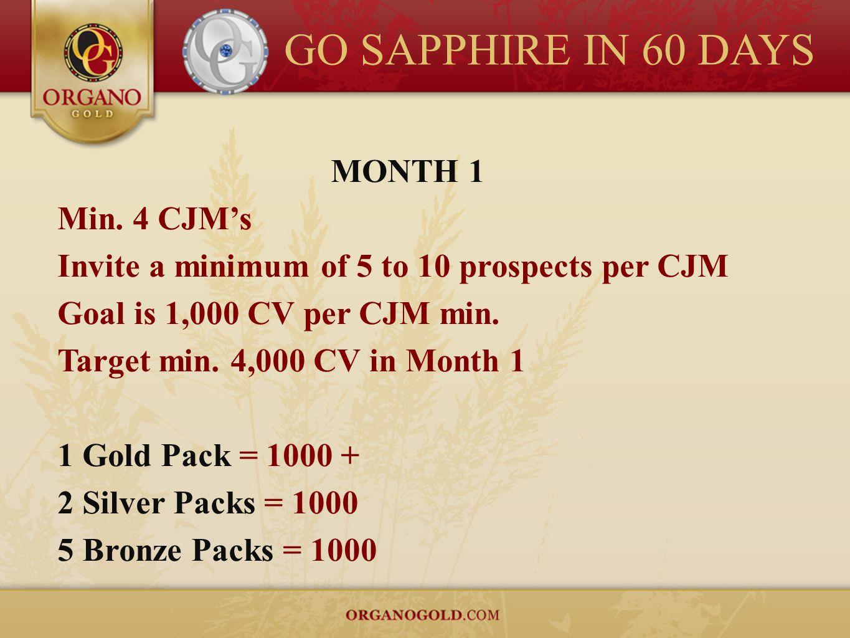 GO SAPPHIRE IN 60 DAYS MONTH 1 Min. 4 CJMs Invite a minimum of 5 to 10 prospects per CJM Goal is 1,000 CV per CJM min. Target min. 4,000 CV in Month 1