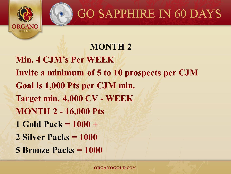GO SAPPHIRE IN 60 DAYS MONTH 2 Min. 4 CJMs Per WEEK Invite a minimum of 5 to 10 prospects per CJM Goal is 1,000 Pts per CJM min. Target min. 4,000 CV