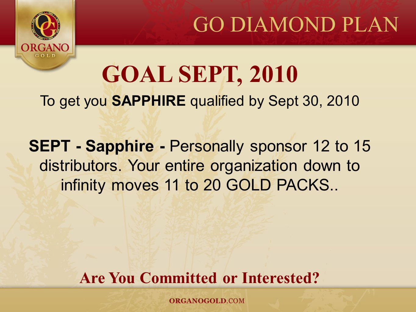 GO DIAMOND PLAN GOAL SEPT, 2010 To get you SAPPHIRE qualified by Sept 30, 2010 SEPT - Sapphire - Personally sponsor 12 to 15 distributors. Your entire