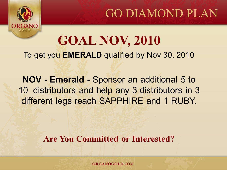 GO DIAMOND PLAN GOAL NOV, 2010 To get you EMERALD qualified by Nov 30, 2010 NOV - Emerald - Sponsor an additional 5 to 10 distributors and help any 3
