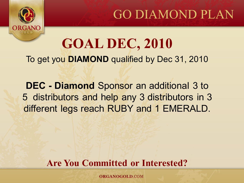 GO DIAMOND PLAN GOAL DEC, 2010 To get you DIAMOND qualified by Dec 31, 2010 DEC - Diamond Sponsor an additional 3 to 5 distributors and help any 3 dis
