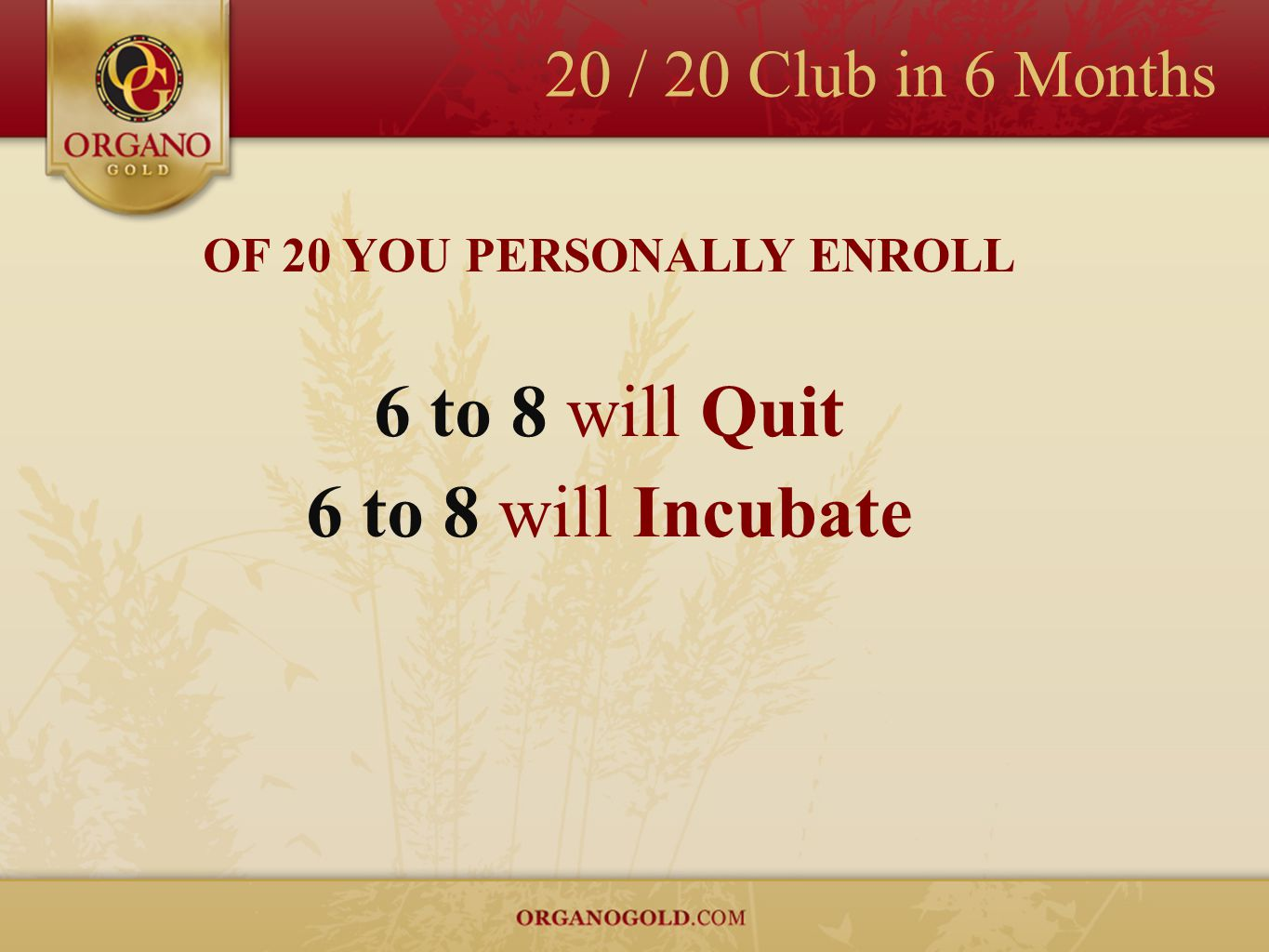 20 / 20 Club in 6 Months OF 20 YOU PERSONALLY ENROLL 6 to 8 will Quit 6 to 8 will Incubate