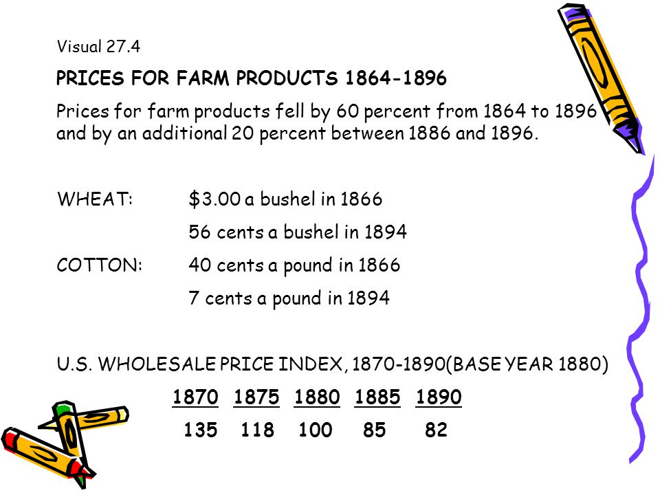 Visual 27.4 PRICES FOR FARM PRODUCTS 1864-1896 Prices for farm products fell by 60 percent from 1864 to 1896 and by an additional 20 percent between 1