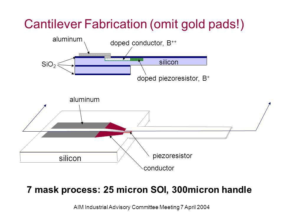AIM Industrial Advisory Committee Meeting 7 April 2004 Cantilever Fabrication (omit gold pads!) doped piezoresistor, B + doped conductor, B ++ aluminum silicon SiO 2 silicon aluminum piezoresistor conductor 7 mask process: 25 micron SOI, 300micron handle