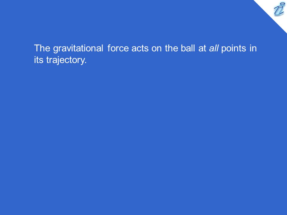 The gravitational force acts on the ball at all points in its trajectory.