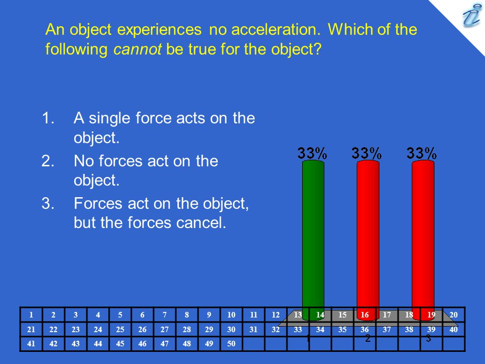 An object experiences no acceleration. Which of the following cannot be true for the object? 1234567891011121314151617181920 2122232425262728293031323
