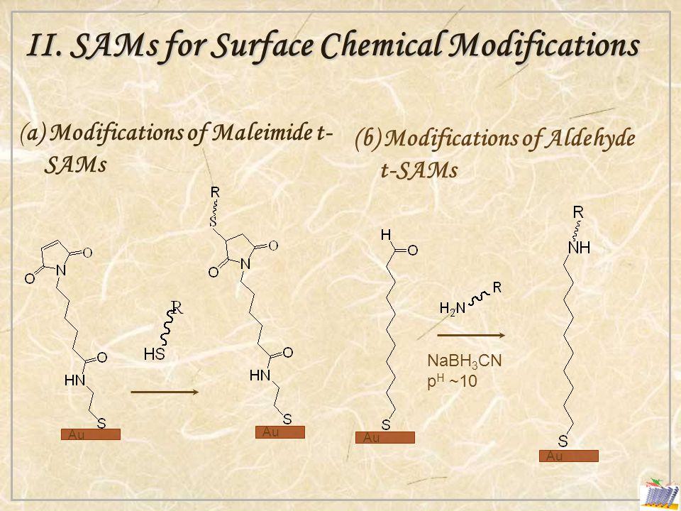 II. SAMs for Surface Chemical Modifications (a) Modifications of Maleimide t- SAMs (b) Modifications of Aldehyde t-SAMs NaBH 3 CN p H ~10 Au