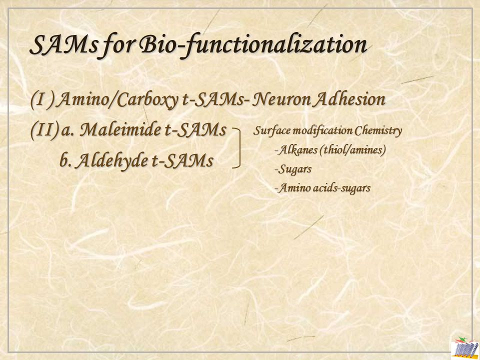 SAMs for Bio-functionalization (I ) Amino/Carboxy t-SAMs- Neuron Adhesion (II) a.