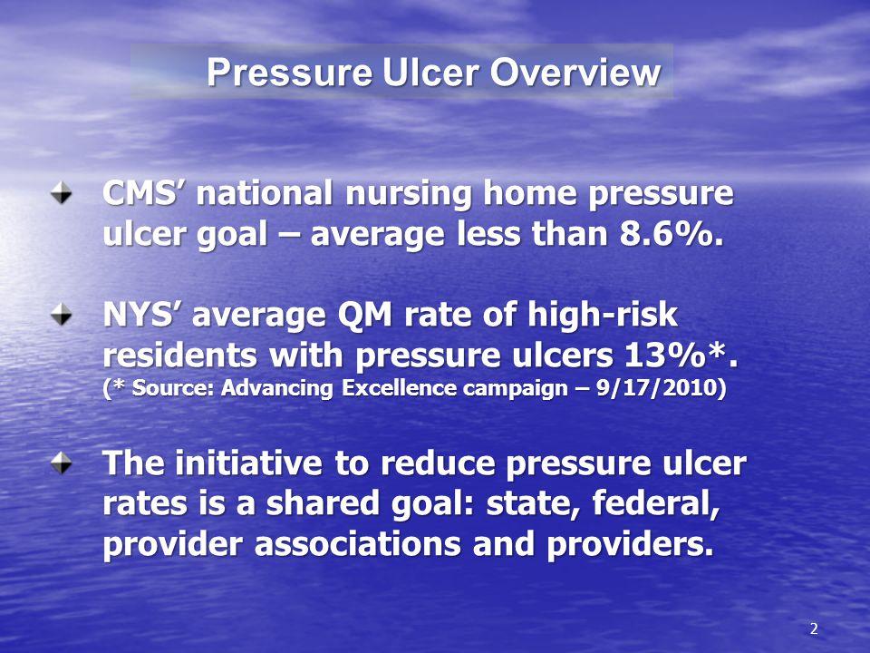 2 Pressure Ulcer Overview Pressure Ulcer Overview CMS national nursing home pressure ulcer goal – average less than 8.6%.