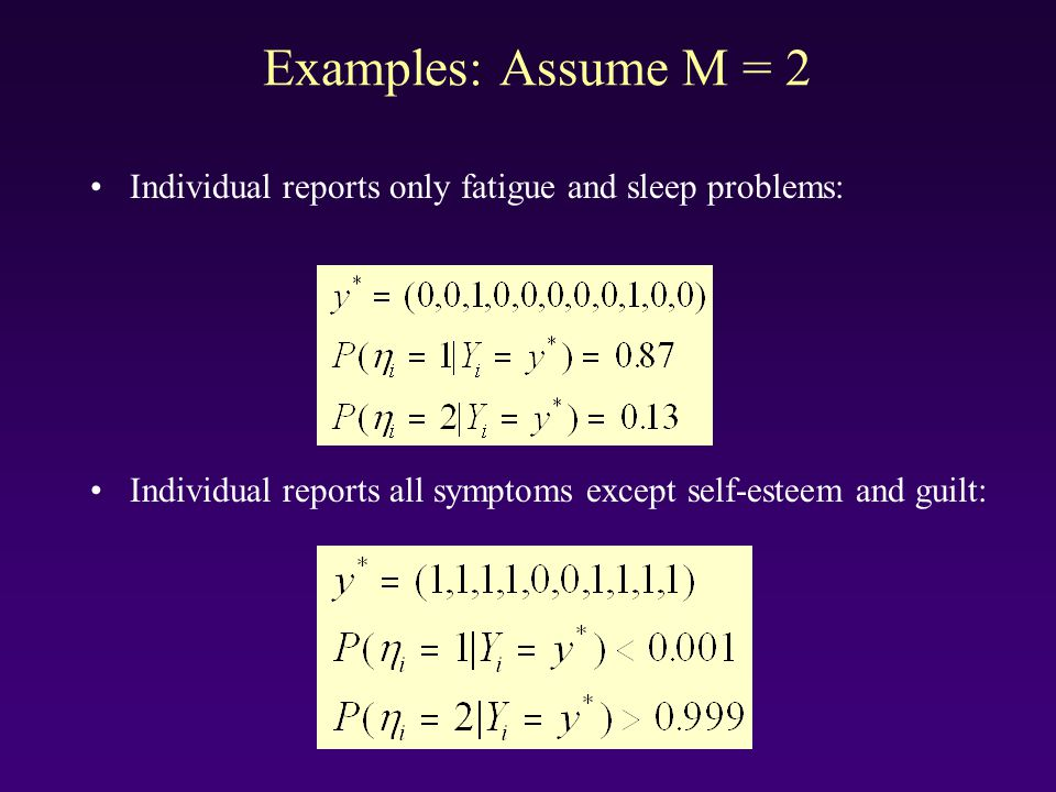 Examples: Assume M = 2 Individual reports only fatigue and sleep problems: Individual reports all symptoms except self-esteem and guilt: