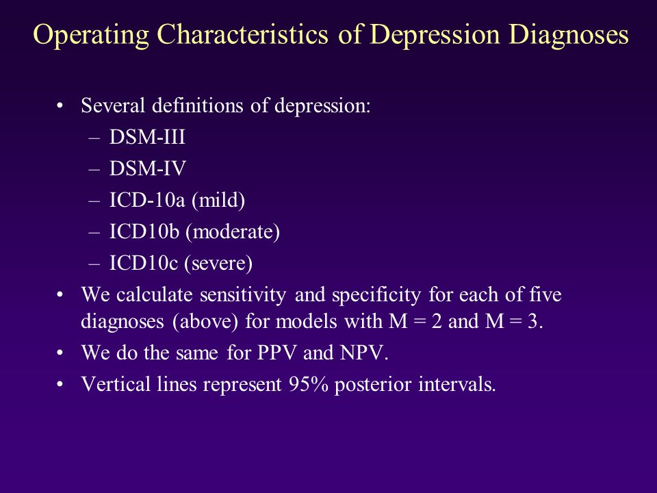 Operating Characteristics of Depression Diagnoses Several definitions of depression: –DSM-III –DSM-IV –ICD-10a (mild) –ICD10b (moderate) –ICD10c (seve