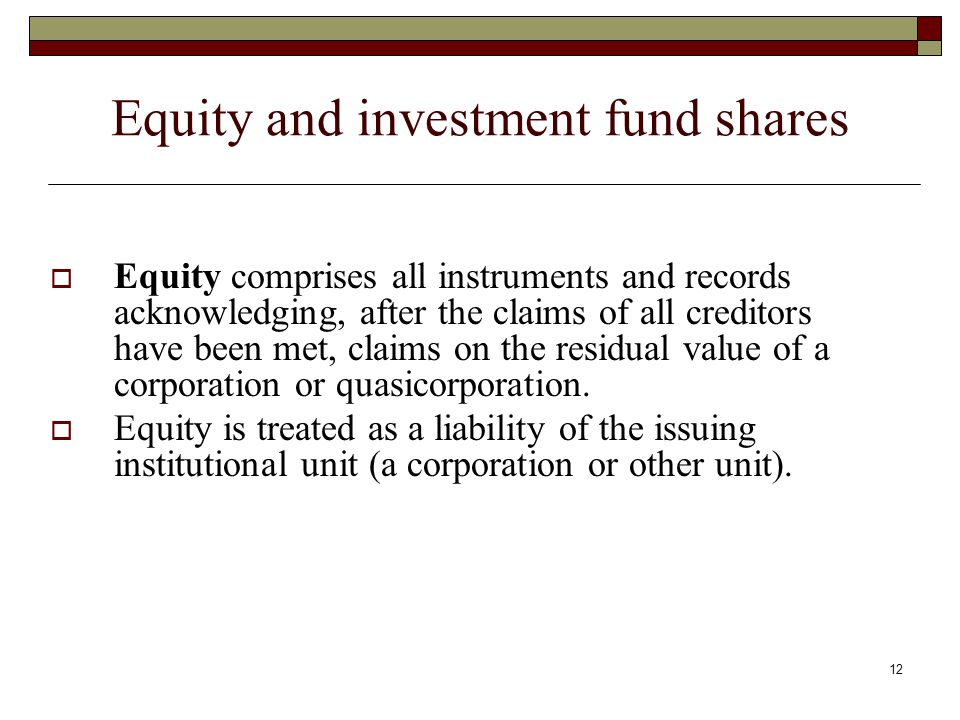 Equity and investment fund shares Equity comprises all instruments and records acknowledging, after the claims of all creditors have been met, claims