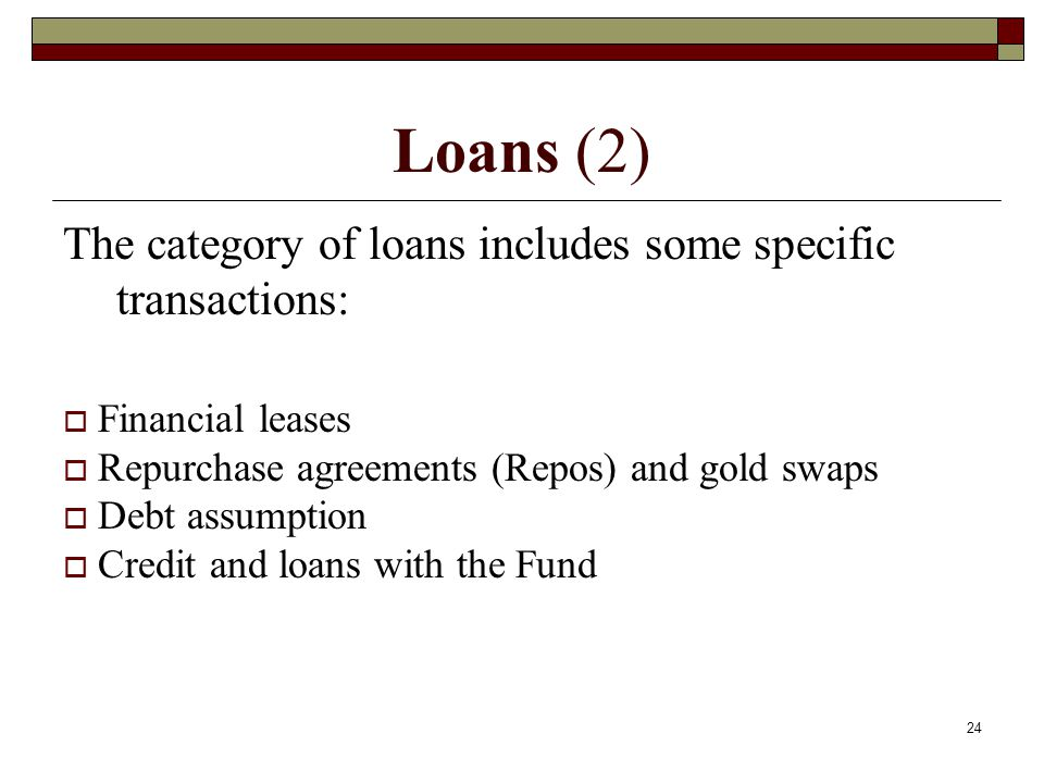 Loans (2) The category of loans includes some specific transactions: Financial leases Repurchase agreements (Repos) and gold swaps Debt assumption Cre