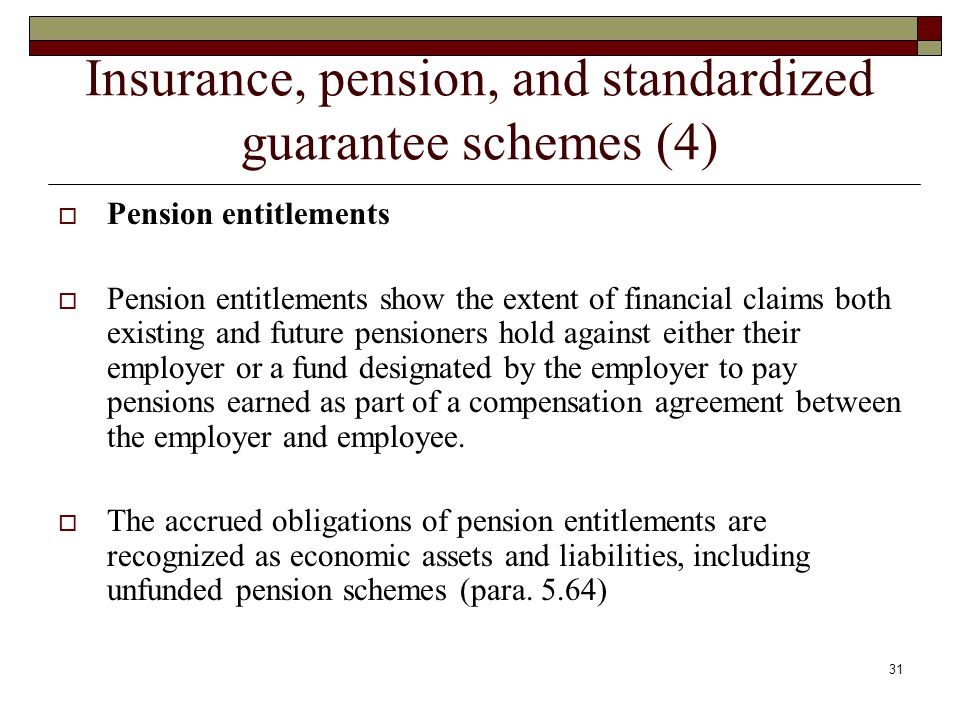 Insurance, pension, and standardized guarantee schemes (4) Pension entitlements Pension entitlements show the extent of financial claims both existing