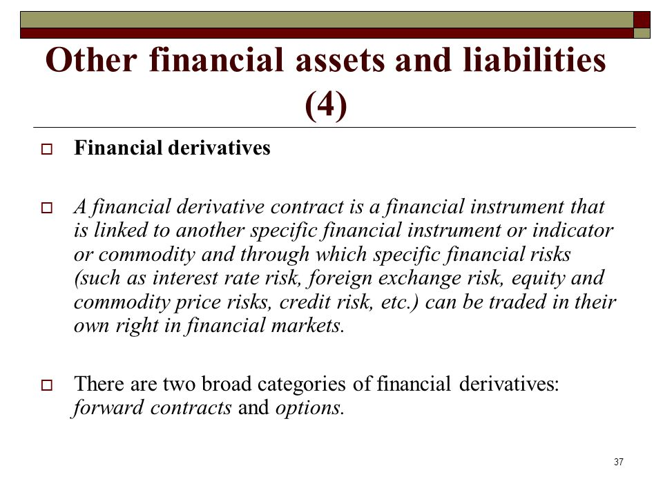 Other financial assets and liabilities (4) Financial derivatives A financial derivative contract is a financial instrument that is linked to another s