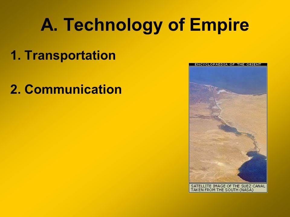A. Technology of Empire 1. Transportation 2. Communication