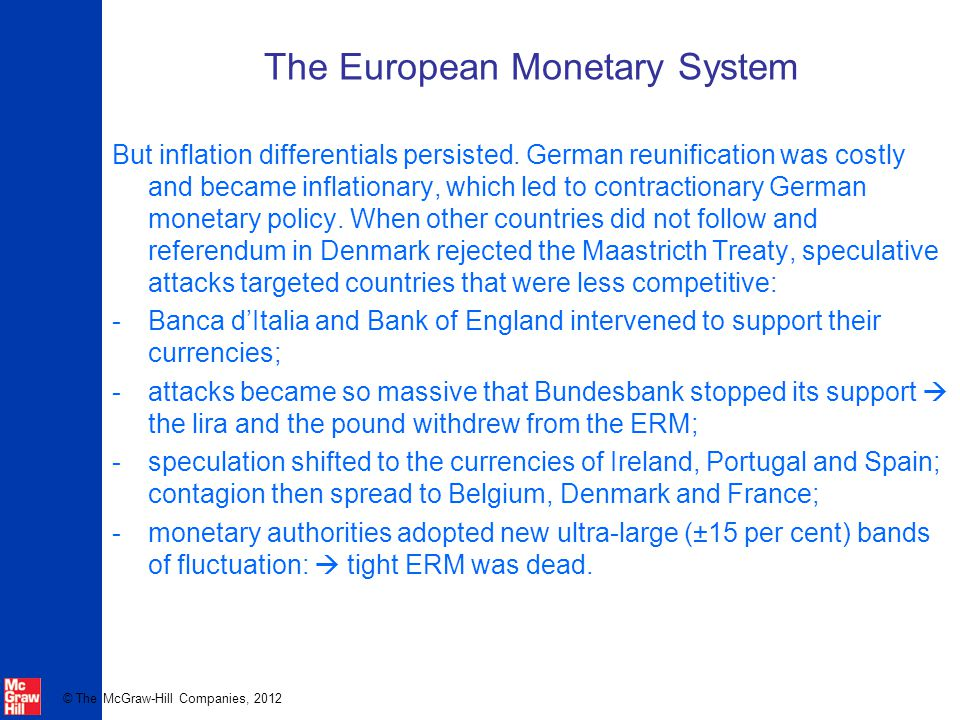 © The McGraw-Hill Companies, 2012 The European Monetary System But inflation differentials persisted.