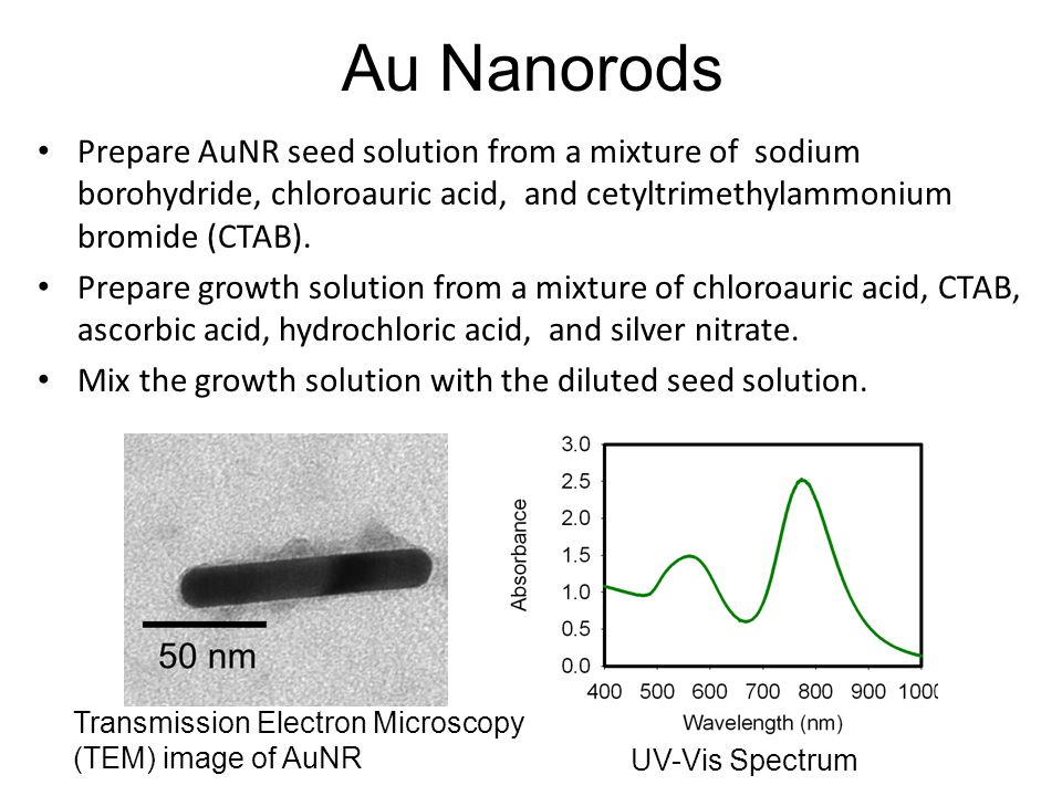 Au Nanorods Prepare AuNR seed solution from a mixture of sodium borohydride, chloroauric acid, and cetyltrimethylammonium bromide (CTAB). Prepare grow