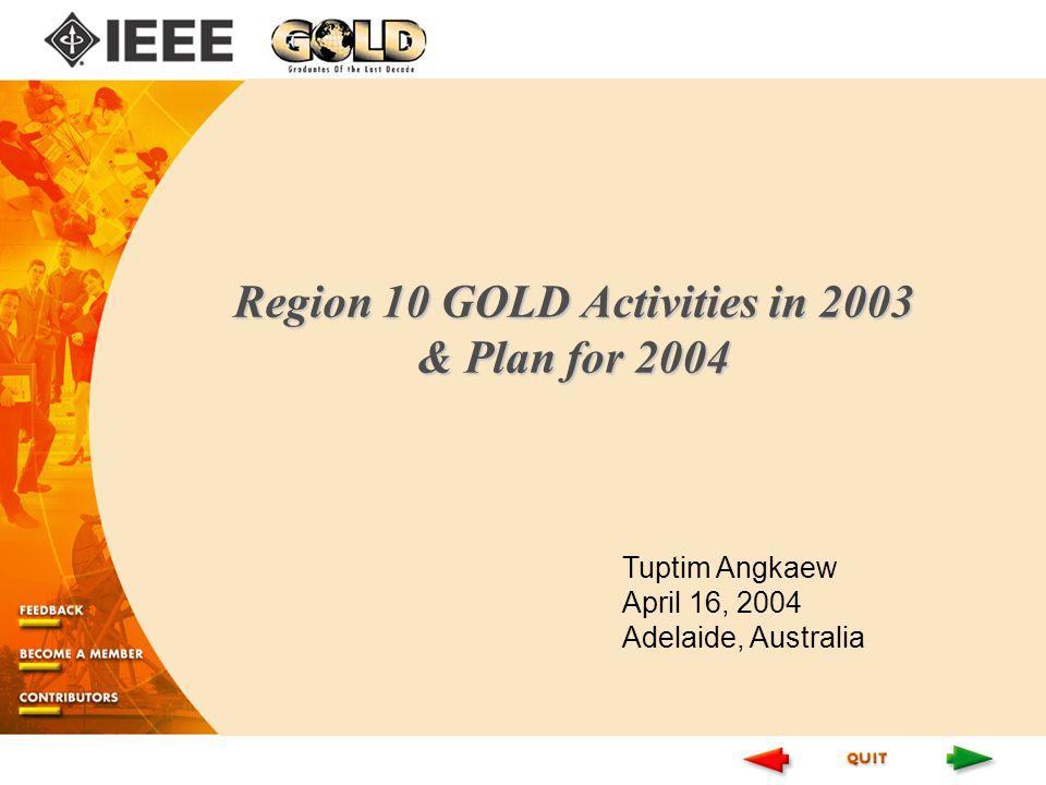 Region 10 GOLD Activities in 2003 & Plan for 2004 Tuptim Angkaew April 16, 2004 Adelaide, Australia