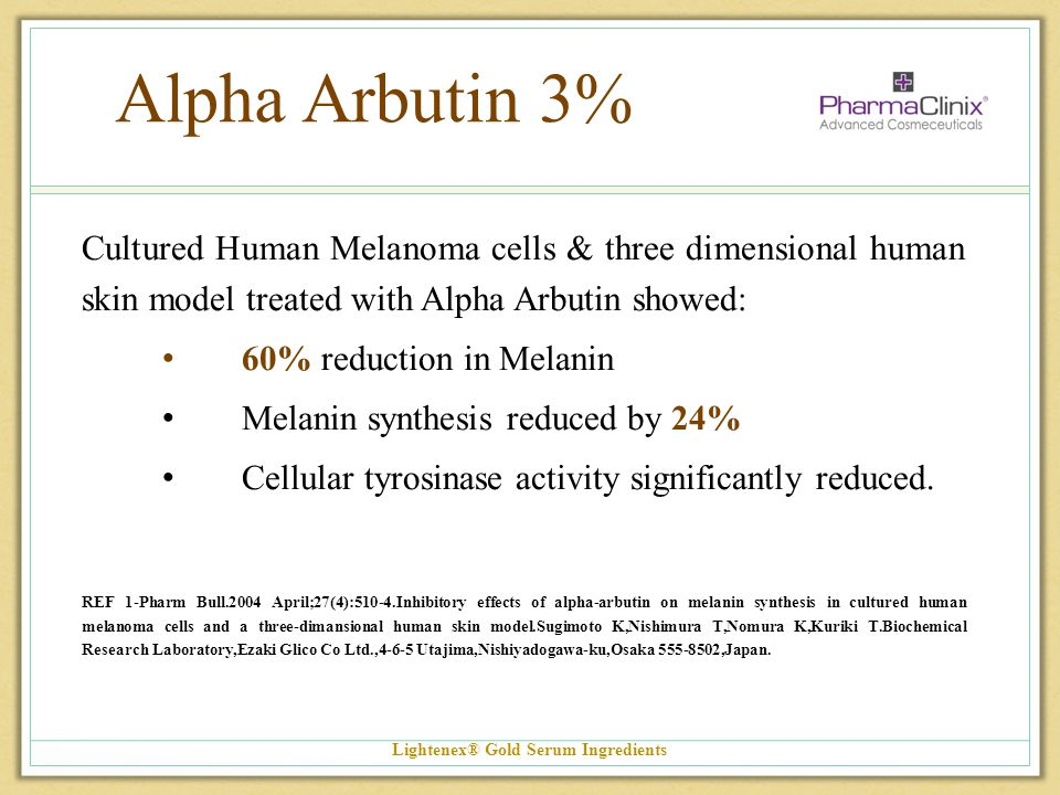 Alpha Arbutin 3% Cultured Human Melanoma cells & three dimensional human skin model treated with Alpha Arbutin showed: 60% reduction in Melanin Melani